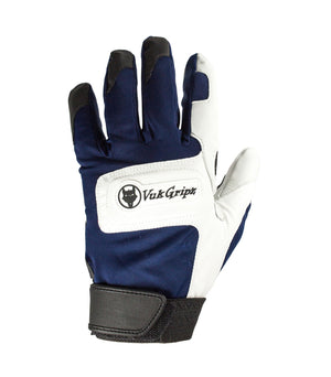 Front view of VukGripz Alpha Navy Batting Gloves featuring white logo and black strap