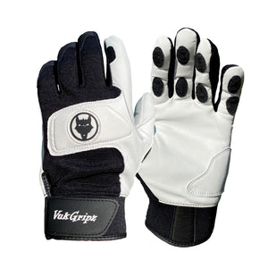 Front View and palm view of Black & White Canine VukGripz Batting Gloves