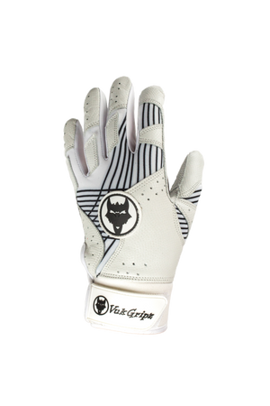 VukGripz Prowler White Baseball and Softball Batting Gloves