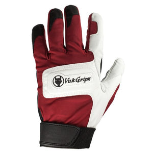 Front view of VukGripz Alpha Red Batting Gloves featuring white logo and black strap