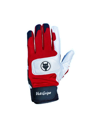 Front view of VukGripz Alpha 2.0 Red Batting Gloves featuring white logo and black strap