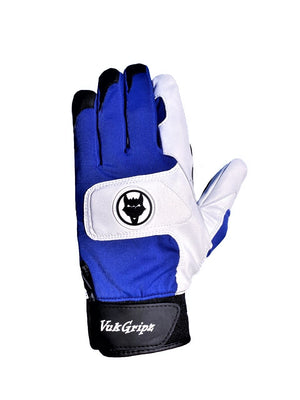 Front view of VukGripz Alpha 2.0 Blue Batting Gloves
