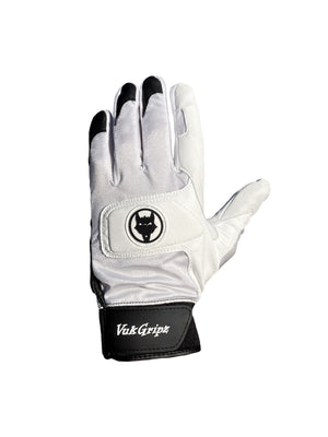 Front view VukGripz Alpha 2.0 White Batting Gloves featuring white logo and black strap