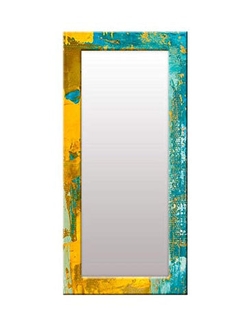 Blue Yellow Abstract Pattern Mirror