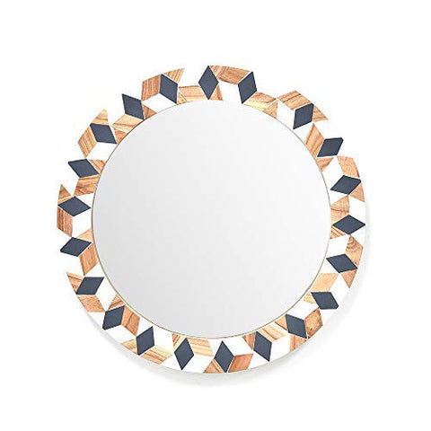 Rhinestone Wooden Wall Hanging Mirror