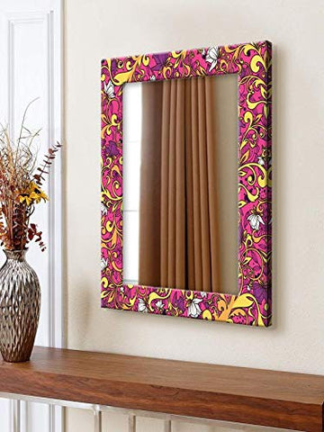 Purple Floral Art Pattern Mirror