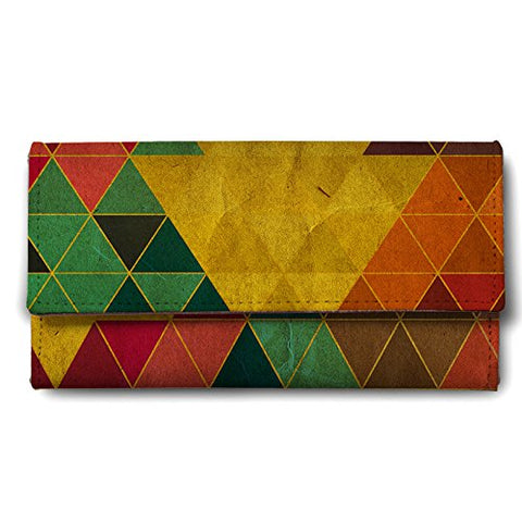 Geometrical Triangles Canvas Women's Wallet