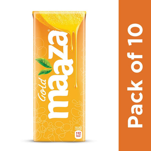 Maaza Gold Mango Fruit Drink, 200 ml Tetra Pack (Pack of 10)