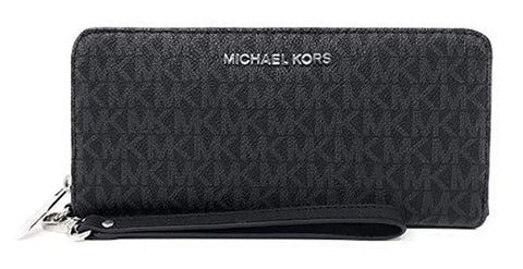 Michael Kors Travel Signature Zip Wristlet Wallet (Black)