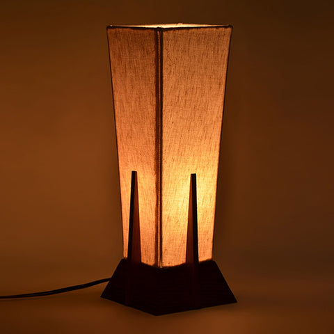 Pyramid Shaped Decorative Wooden Table Lamp