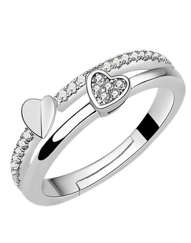 Elegant Silver Platinum Plated Adjustable Crystal Ring For Women