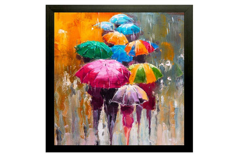 Rainy Umbrella Modern Art Painting