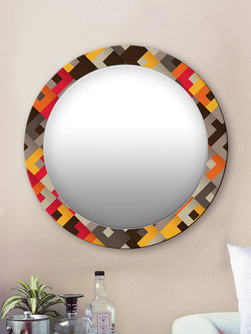 Yellow and Brown Abstract Round Mirror