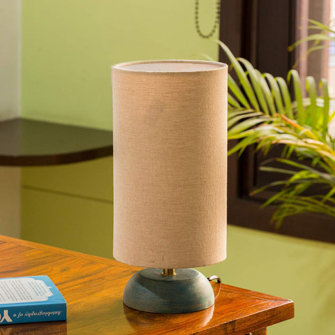 Mango Wood Round Table Lamp