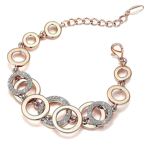 Circles Of Love Crystal Charm Bracelet For Women Girls
