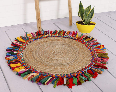 Round Braided Handmade 100% Jute Rug (Multicolor)