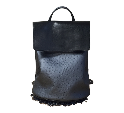 BRENDA Backpack (Sola Steel Blue Ostrich & Raven Black)