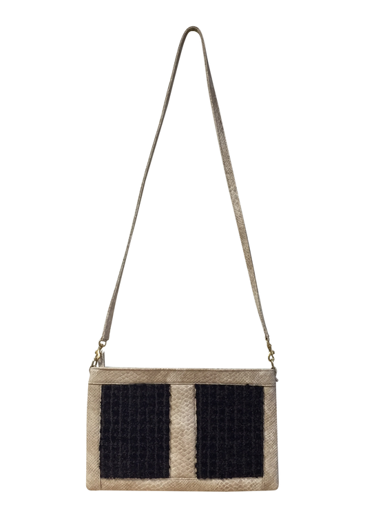 MEGAN Crossbody Clutch (Beige & White Balboa Snakeskin)