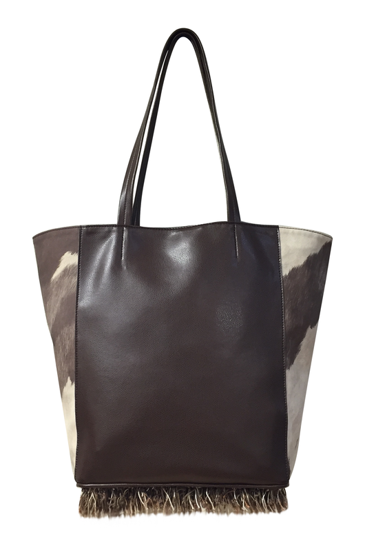 JENNY Tote, Oversized (Cream & Brown Cava Creature)