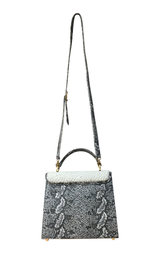 CHRISTINE Shoulder Bag (Black & White Balboa Snakeskin)