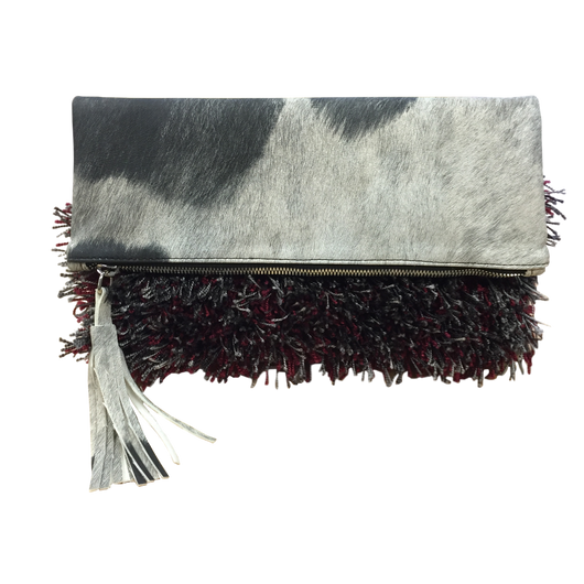 MADISON Clutch, Foldover (Black & White Cava Creature)