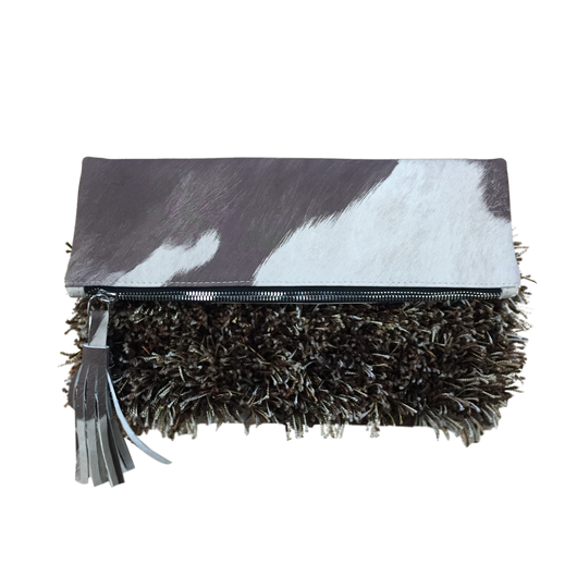 MADISON Clutch, Foldover (Cream & Brown Cava Creature)