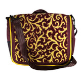 Nylon Crossbody Laptop Messenger Bag, Red & Yellow Leaf Filigree Neo Texture