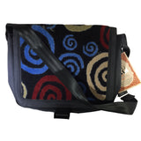 Nylon Crossbody Laptop Messenger Bag, Blue Red Beige Swirl Neo Texture