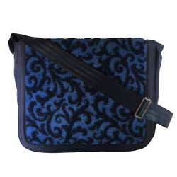 Nylon Crossbody Laptop Messenger Bag, Navy Blue Leaf Filigree Neo Texture