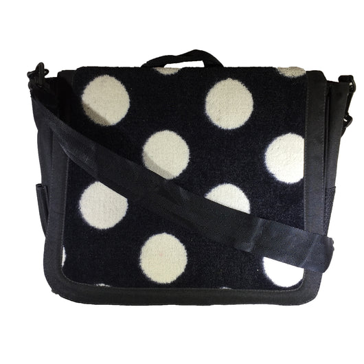 Nylon Crossbody Laptop Messenger Bag, Black & White Polka Dot Neo Texture