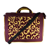 Nylon Crossbody Messenger Briefcase Bag, Red & Yellow Leaf Filigree Neo Texture