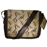 Nylon Crossbody Laptop Messenger Bag, Brown Beige Bamboo Neo Texture