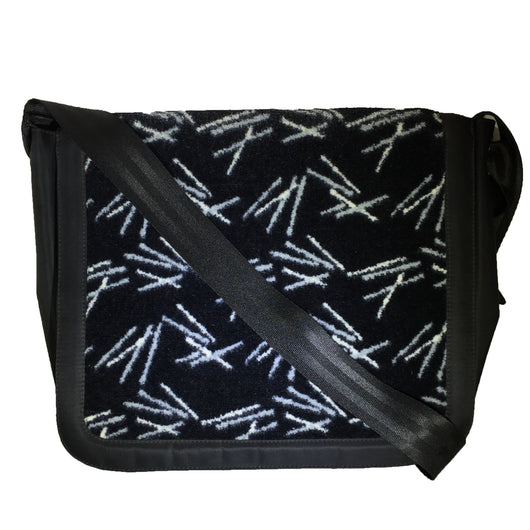 Nylon Crossbody Laptop Messenger Bag, Black White Bamboo Neo Texture