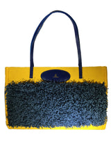 Yellow & Blue Canvas Everyday Tote, Shag Fringe