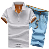 Cotton Mens Sets Summer Button Polo Shirts Sets Turn Down Mens Shorts 4XL Men Clothes 2 Piece Set Elastic Waist Shorts