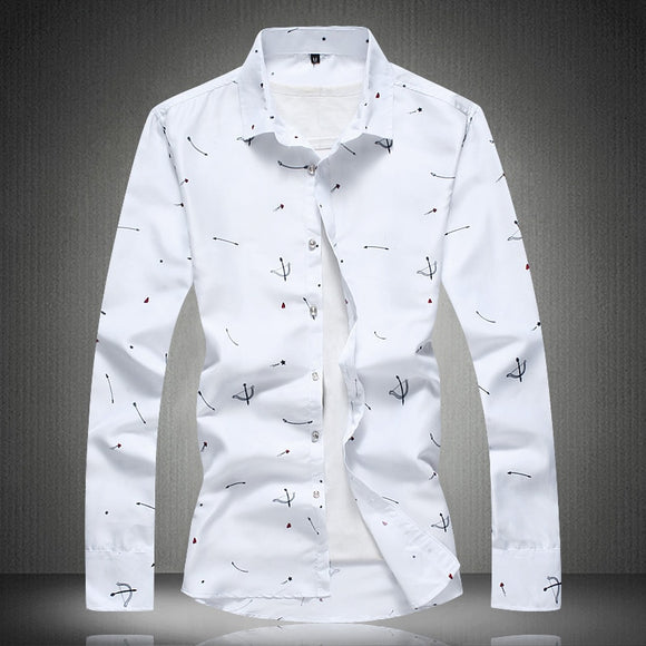 Men's Arrival 2020 New Long Sleeve shirt Mens Dress Casual Bow and Arrow Pattern Shirts Big Size M- 4XL 5XL 6XL 7XL