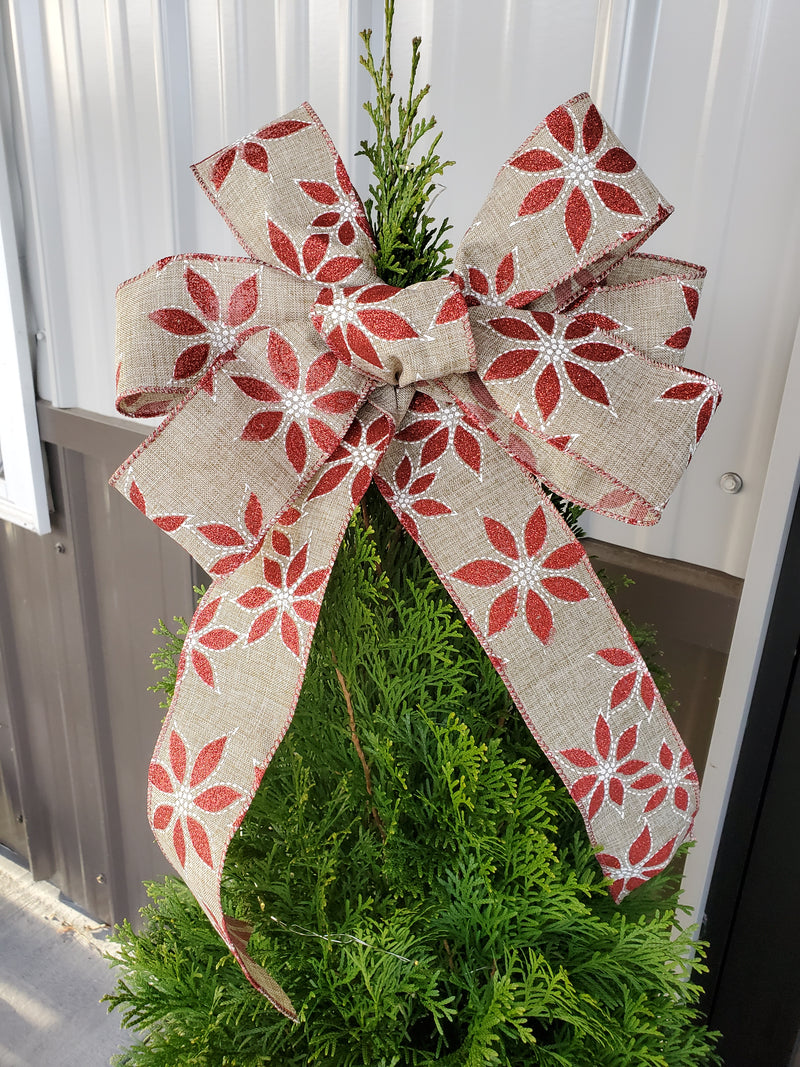 Poinsettia handmade Christmas bow