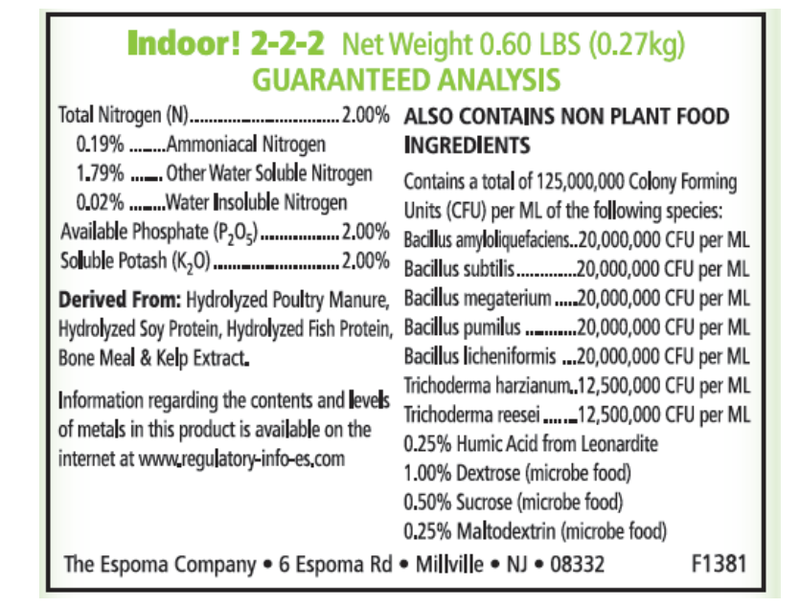 Nutritional specs of Espoma Indoor-food liquid fertilizer
