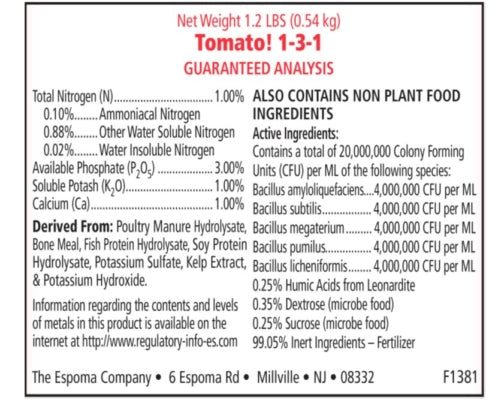 Nutritional specs of Tomato-food liquid fertilzer