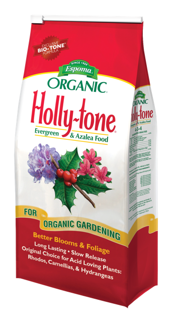 Apply Holly Tone to acid loving plants, trees and shrubs including:  Amaryllis Andromeda Aster Azalea Bayberry Bleeding Heart Blueberry Camellia Dogwood Evergreens Ferns Fir Gardenia Heath Heather Hemlock Holly Huckleberry Hydrangea Inkberry Juniper Leucothoe Lily-of-the-Valley Lupine Magnolia Marigold Mountain Ash Mouuntain Laurel Oak Pachysandra Phlox Pieris Pine Raspberry Rhododendron Spruce Strawberries Wood-sorrel