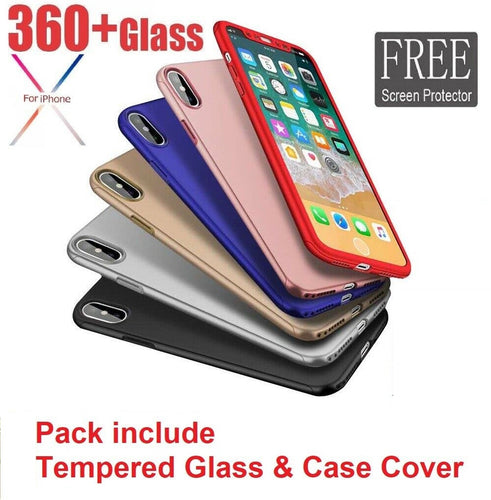 COVER CUSTODIA Per IPHONE 6 7 8 X XR XS Max FRONTE RETRO 360° + VETRO  TEMPERATO