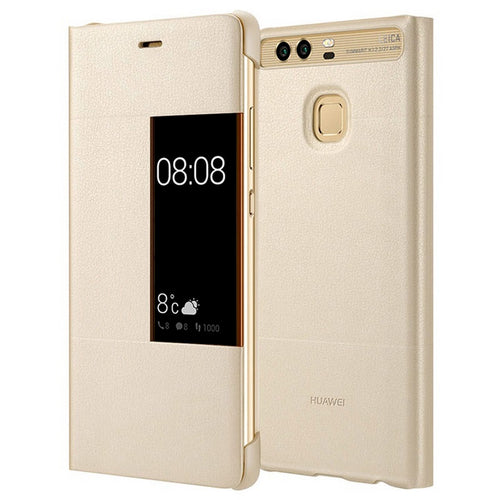CUSTODIA COVER VIEW ORIGINALE PER ASCEND HUAWEI P9 SMART CASE BOOK ORO GOLD