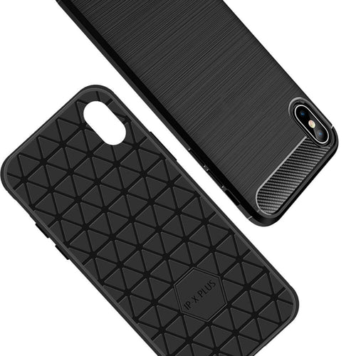 SDTEK Custodia per iPhone XS Max [Carbonio TPU] Cover Case
