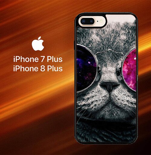 Custodia Cover iphone 7 plus 8 plus Cat Glasses O0167 Case