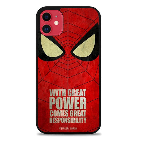 Custodia Cover iphone 11 pro max Spiderman With Great Power Z0876 Case