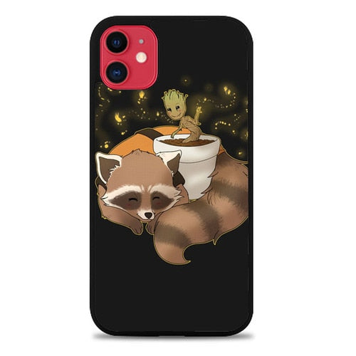 Custodia Cover iphone 11 pro max GROOT AND CUTE RACOON Z1066 Case