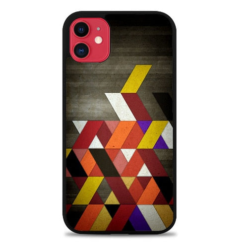 Custodia Cover iphone 11 pro max Geometric Abstraction on wood Z1700 Case