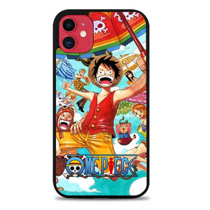Custodia Cover iphone 11 pro max One Piece Luffy Crew Falling Down Z3951 Case