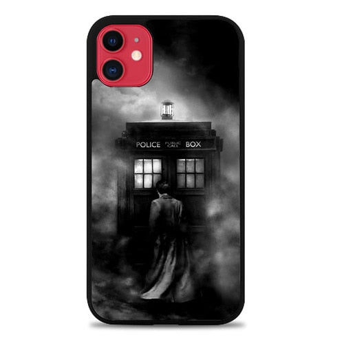 Custodia Cover iphone 11 pro max DOCTOR WHO TARDIS POLICE BOX BLACK WHITE Z4363 Case