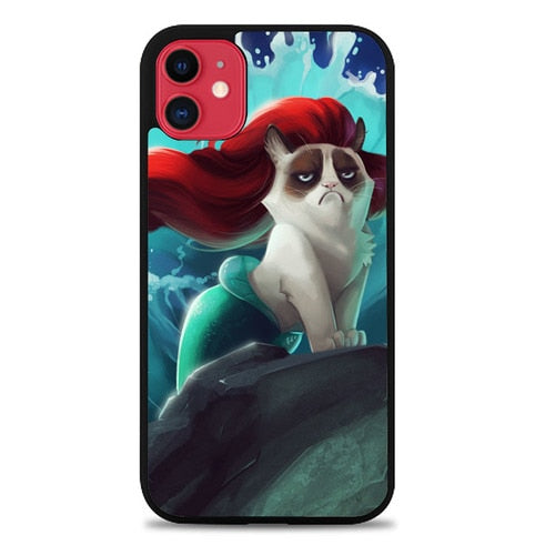 Custodia Cover iphone 11 pro max Little Mermaid Grumpy Cat Z4486 Case